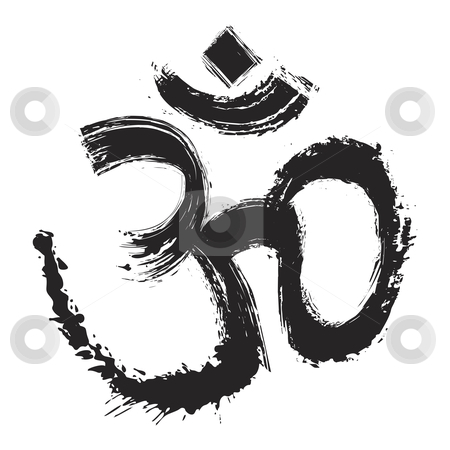 Artistic om symbol stock vector clipart, Hinduism religion symbol om created in grunge style by Oxygen64