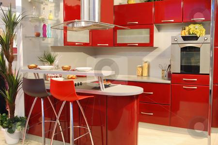 Red kitchen stock photo, Red kitchen by Goce Risteski