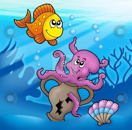 Cute octopus and orange fish stock photo, Cute octopus and orange fish - color illustration. by Klara Viskova