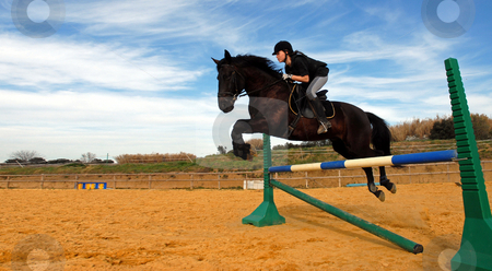Jumping stock photo, A young teenager and her black stallion in a training of jumping by Bonzami Emmanuelle