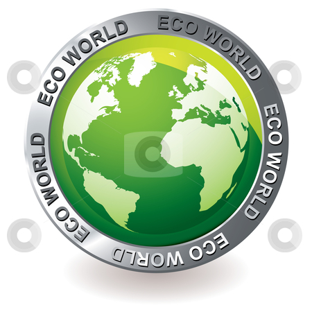 Green icon eco earth globe stock vector clipart, Green earth globe icon with silver bevel and environment theme by Michael Travers
