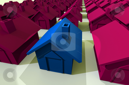 View down the street stock photo, Illustrated street view of houses in a row in blue and pink by Michael Travers
