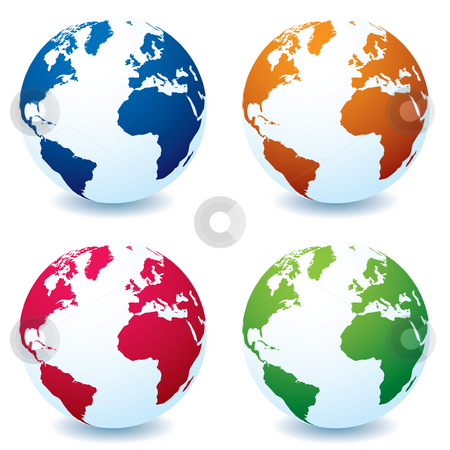 Realistic earth globe variation stock photo, Four illustrated realistic earth globes in different colors and shadow by Michael Travers