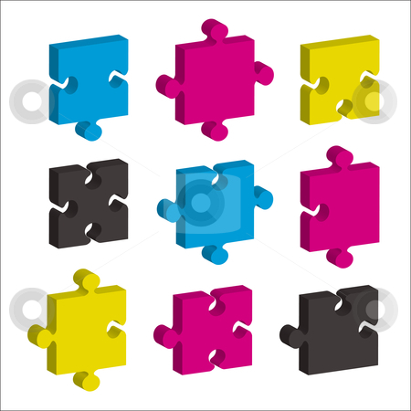 Jigsaw pieces cmky stock vector clipart, Single jigsaw pieces in cmyk colors and 3d effect ideal concept by Michael Travers