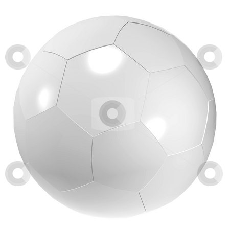 White football stock photo, Traditional white football with sewn panels and isolated background by Michael Travers
