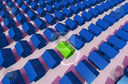 Housing estate with spot light stock photo, Image taken from above of green street and spot light on blue house by Michael Travers