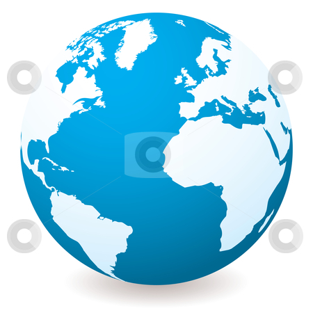 Light dark blue globe stock vector clipart, Blue illustrated globe with shadow and white land and ocean by Michael Travers