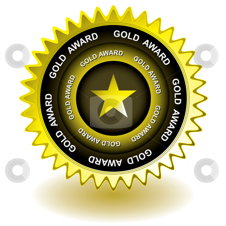 Gold award icon stock vector clipart, Golden award for web site or icon used for presentation of achievement by Michael Travers