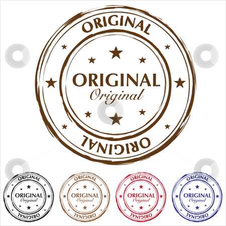 Original stamp variation stock vector clipart, Five original rubber stamps with color variation and grunge effect by Michael Travers