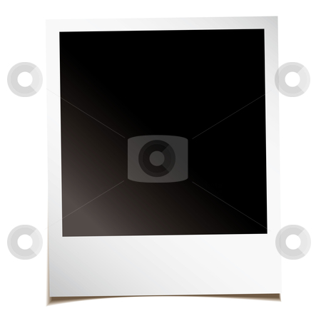 Blank instant photo stock vector clipart, Single blank instant photograph with shadow and room to add your own image by Michael Travers