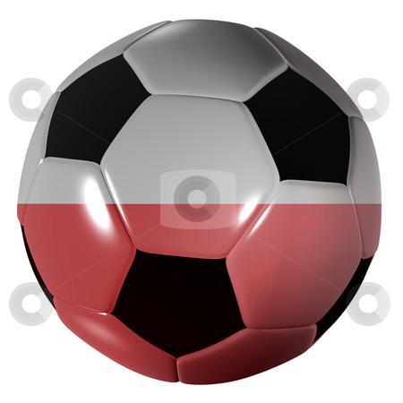 Football polish flag stock photo, Traditional black and white soccer ball or football polish flag by Michael Travers