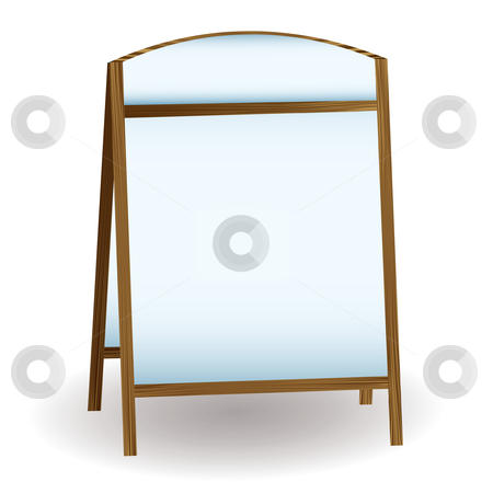 Pub white notice board stock vector clipart, Notice board as used to promote food shops or for information by Michael Travers