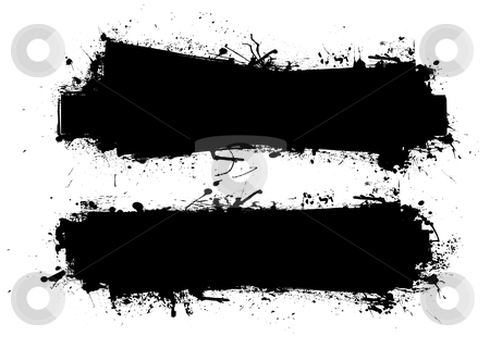 Grunge ink banner black stock vector clipart, Two black grunge ink splat banners with room to add your own text by Michael Travers