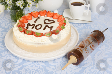 Mommy in chocolate stock photo, Mother's day cake with mommy written in chocolate by Anneke