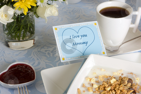 Coffee for mommy stock photo, Mother's day breakfast with coffee, flowers and cereals by Anneke