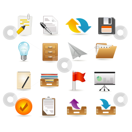 Projects and documents icons stock photo, Projects and documents icons by Ika