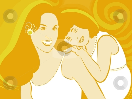 Mother and daughter stock photo, Illustration  drawing of a mother and her daughter by Su Li