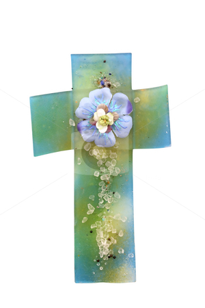 Glass cross stock photo, Glass cross with flower isolated on white by Borislav Marinic