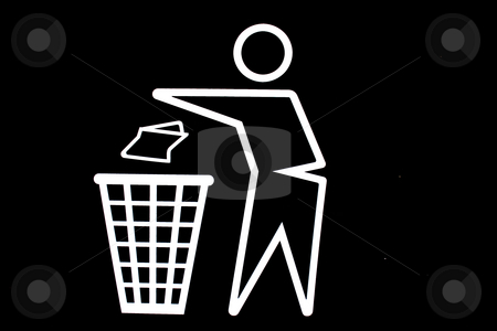Throwing trash out symbol stock photo, A white stickman throwing trash into garbage can on black background by Derek Neuland