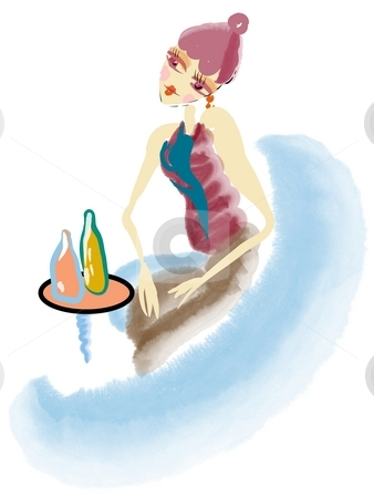 Chic girl in a bar stock photo, Watercolor painting of a chic girl in a bar by Su Li