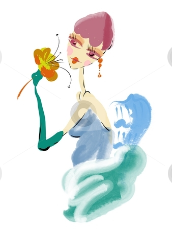 A beautiful girl holding flower in her hands stock photo, Watercolor painting of a beautiful girl holding flower in her hands by Su Li