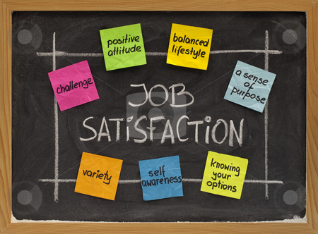 Job satisfaction concept stock photo, Ingredients of job satisfaction concept - white chalk handwriting and color sticky notes on blackboard by Marek Uliasz