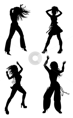 Silhouette of female dance stock photo, Drawing of female silhouette in a white background by Su Li