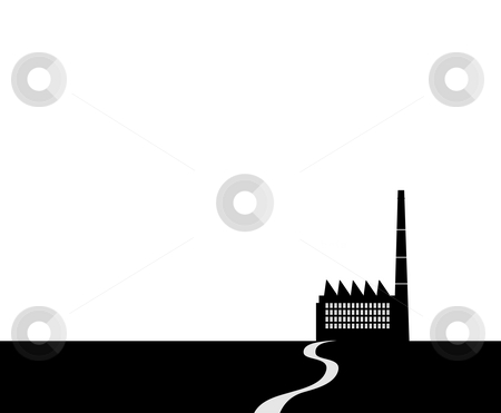 Building with road stock photo, Drawing of black building with road,used as background by Su Li