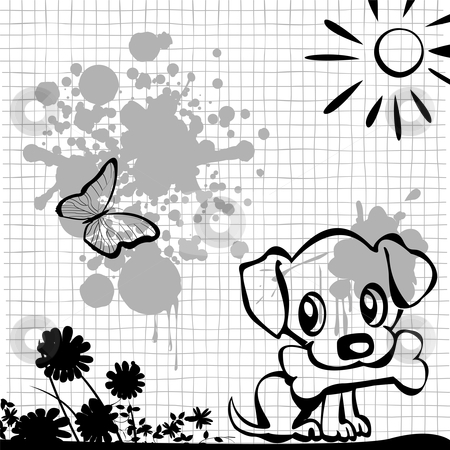 Puppy with bone stock vector clipart, Puppy with bone, illustration in black and gray tones by Richard Laschon