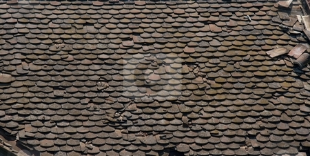 Roof stock photo, Old, dirty, dark roof falling apart by P?