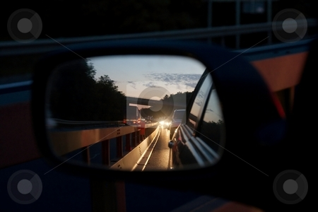 Traffic stock photo, Traffic jam on the highway reflected in the side mirror of a car by P?