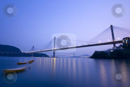 Bridge stock photo, It is beautiful night scenes of Bridge in Hong Kong. by Keng po Leung