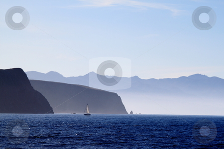 Santa Cruz Island stock photo, Santa Cruz Island of the cost from Ventura California by Henrik Lehnerer