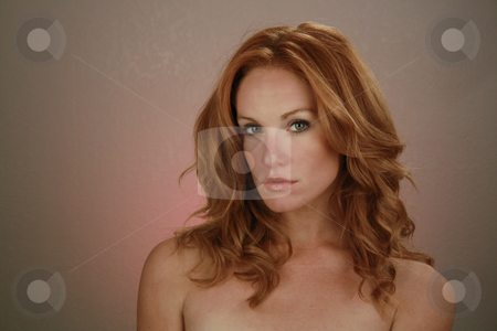 Beautiful Redhead, Headshot (18) stock photo, A lovely redhead model by Carl Stewart