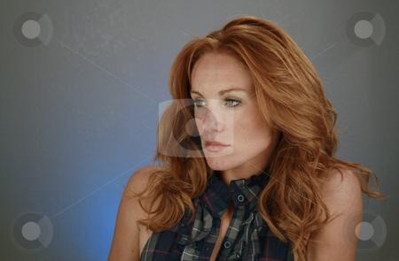 Beautiful Redhead, Headshot (15) stock photo, A lovely redhead model by Carl Stewart