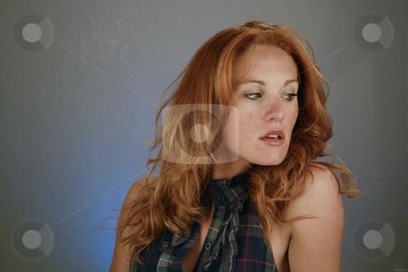 Beautiful Redhead, Headshot (14) stock photo, A lovely redhead model by Carl Stewart