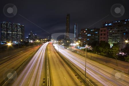 Traffic night stock photo, It is a shot of hong kong traffic night by Keng po Leung