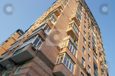 Flats stock photo, Huge block of flats in the suburbs of Kiev by P?