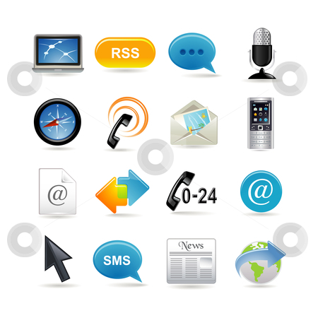 Communication icons set stock vector clipart, Communication icons set by Ika