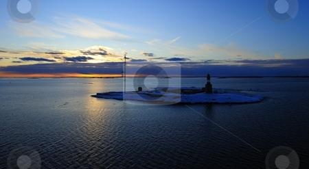 Winter Sunset stock photo, Sunset on Baltic Sea, on viking line Helsinki to Stockholm, March 2010 by Lizhe Zhu