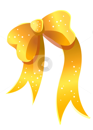 Golden bow stock photo, Golden christmas bow with white point isolated by Su Li