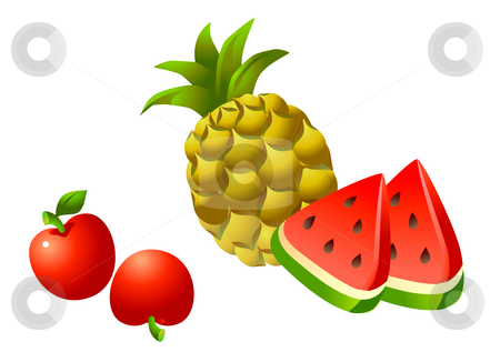 Fruits stock photo, Pineapple tomato and watermelon  on the white background by Su Li