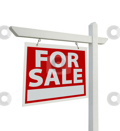 For Sale Real Estate Sign Isolated - Left stock photo, For Sale Real Estate Sign Isolated on a White Background with Clipping Paths - Facing Left. by Andy Dean