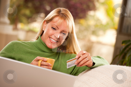 Beautiful Woman with Credit Card Using Laptop stock photo, Beautiful Woman with Credit Card Using Her Laptop. by Andy Dean