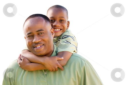 Happy Man and Child Isolated on White stock photo, Happy African American Man and Child Isolated on a White Background. by Andy Dean