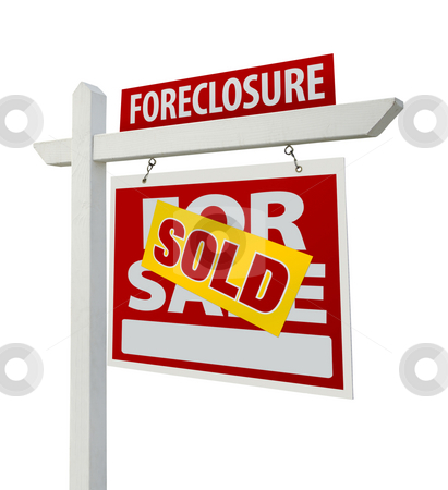 Sold Foreclosure Real Estate Sign Isolated - Right stock photo, Sold Foreclosure Home For Sale Real Estate Sign Isolated on a White Background with Clipping Paths - Right Facing. by Andy Dean
