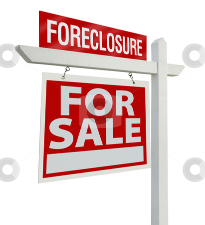 Foreclosure Real Estate Sign Isolated - Left stock photo, Foreclosure Home For Sale Real Estate Sign Isolated on a White Background with Clipping Paths - Left Facing. by Andy Dean
