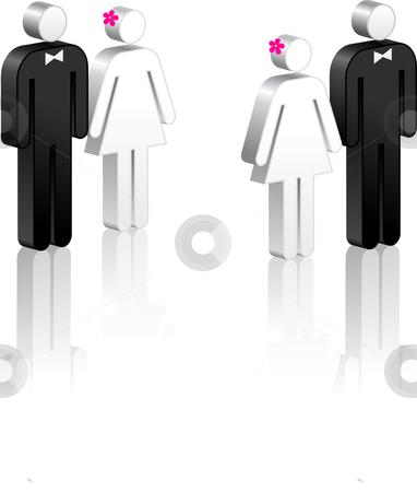 Stick Figure Couples stock vector clipart, Stick Figure Couples Original Vector Illustration Stick Figure Couples Ideal for Marriage Concept by L Belomlinsky