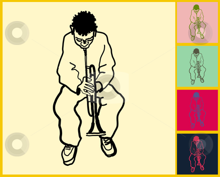African American boy playing trumpet stock vector clipart,  by L Belomlinsky