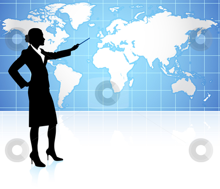 Businesswoman presenting World Map Background stock vector clipart, Businesswoman presenting World Map Background Original Vector Illustration by L Belomlinsky